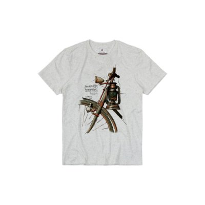 Camiseta Masculina Manga Curta com Estampa Vintage Bike Lamp  - Bege