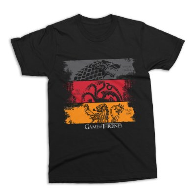Camiseta Game of Thrones - Stark, Targaryen e Lannister