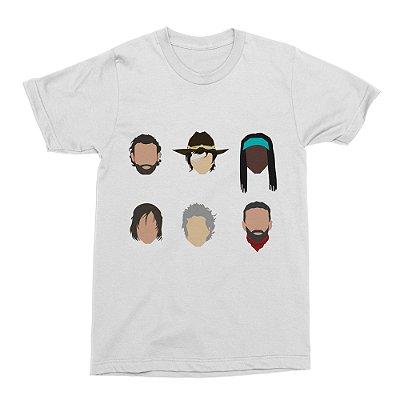 Camiseta The Walking Dead - Personagens - Branca (Tamanho G)