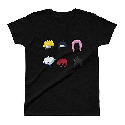 Camiseta Naruto - Personagens (Preta) - Feminina