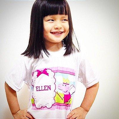 Camiseta infantil Peppa Pig Personalizada com Nome