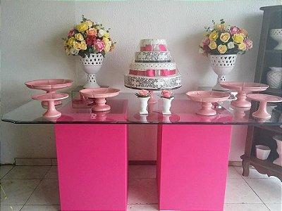 Mesa base pink / vidro 2m