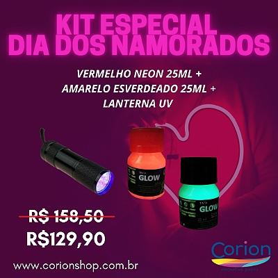 Kit 2 Dia dos NAMORADOS Especial: Tinta Glow Corion 25ML Vermelha + Amarelo Esverdeado + 1 Lanterna 9 Leds UV.