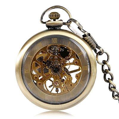 Relógio de Bolso Esqueleto Automático ys-2014