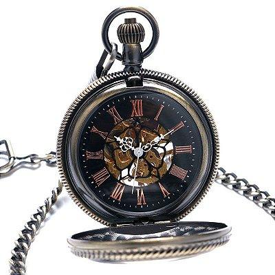 Relógio de Bolso Esqueleto Automático ys-2016
