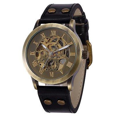 Relógio Esqueleto Shenhua Automático Sh-9564 com Pulseira Preta