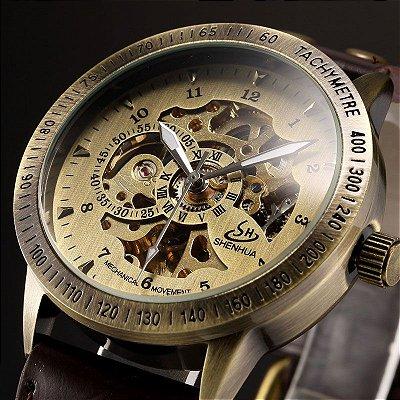 Relógio Esqueleto Shenhua Automático Sh-9566 com Pulseira Marrom