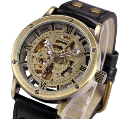 Relógio Esqueleto Shenhua Automático Sh-9397 com Pulseira Preta