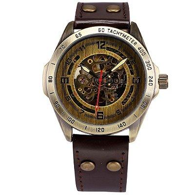 Relógio Esqueleto Shenhua Automático Sh-9889 com Pulseira Marrom