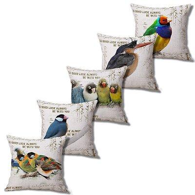 Kit 5 Capa Almofada Linho Algodão Little Birds 43 x 43 cm