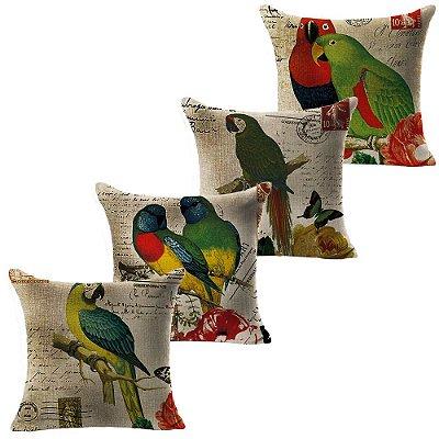 Kit 4 Capa Almofada Linho Algodão Papagaios 43 x 43 cm