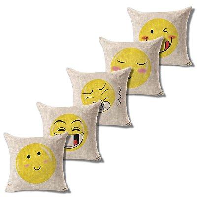 Kit 5 Capa Almofada Linho Algodão Emoji 43 x 43 cm