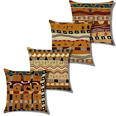 Kit 4 Capa Almofada Linho Algodão Africana 43 x 43 cm