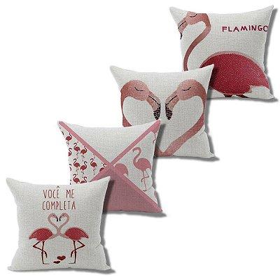 Kit 4 Capa Almofada Linho Algodão Flamingos 43 x 43 cm