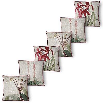Kit 6 Capa para Almofada Belchior Botanica Red 43x43 cm
