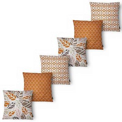 Kit 6 Capas Almofada Belchior Elegance Orange 43x43 cm