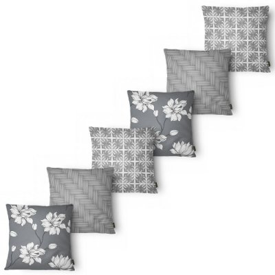 Kit 6 Capas Almofada Belchior Elegance Flower Gray 43x43 cm