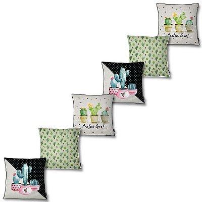 Kit 6 Capas Almofada Belchior Colors Estampada Cactus Love