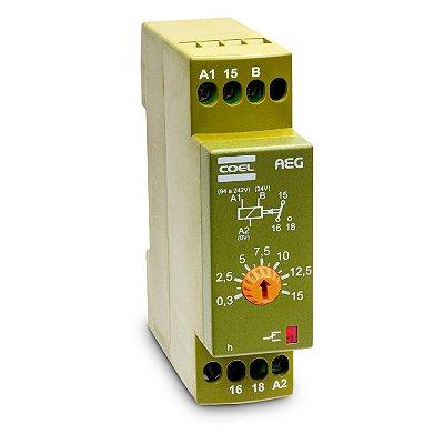 AEG-UCS-P RELÉ DE TEMPO COM RETARDO/PULSO ANALÓGICO 94 À 240 VCA E 24VCA/VCC 3,0 SEG COEL
