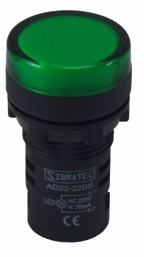 AD22-22DS SINALEIRO LED 22MM VERDE SIBRATEC
