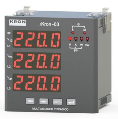 IKRON 03 MULTIMEDIDOR SEM MEMÓRIA DE MASSA 96X96MM DISPLAY LED JK20022265100 KRON MEDIDORES