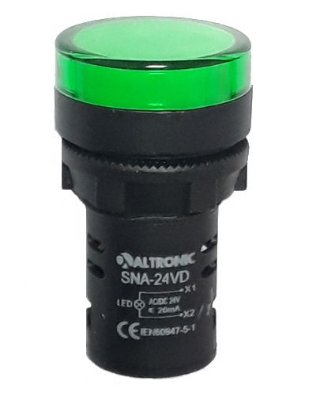 SNA-24VD SINALEIRO LED 22MM 24VCA/VCC VERDE MONOBLOCO ALTRONIC