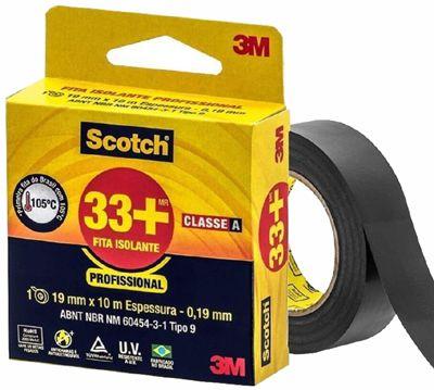 FITA ISOLANTE SCOTCH 33+ USO PROFISSIONAL CLASSE A PRETA 19MM X 10M 3M