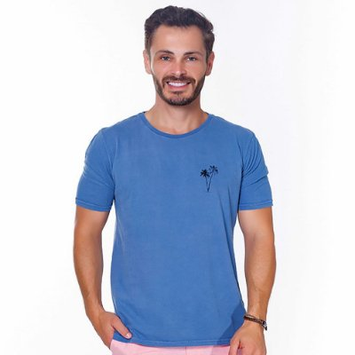 Camiseta Hiatto Estampada Manga Curta Masculina Azul