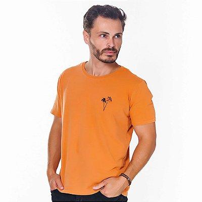 Camiseta Hiatto Estampada Manga Curta Masculina Ocre