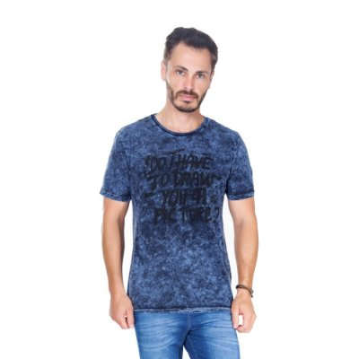 Camiseta Hiatto Estonada Manga Curta Masculina Azul