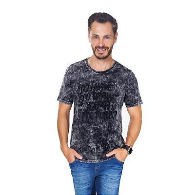 Camiseta Hiatto Estonada Manga Curta Masculina Preta