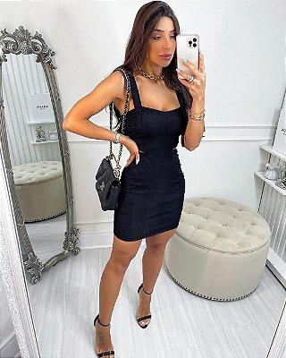 Vestido Feminino em Jacquard Texturizado Premium Charlotte - Preto