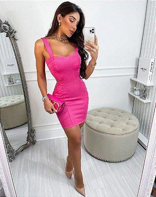 Vestido Feminino em Jacquard Texturizado Premium Charlotte - Rosa