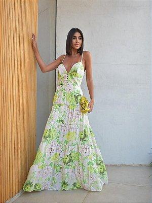 Vestido Feminino em Crepe Hortênsia- verde