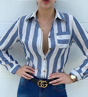 Camisa feminina em linho listrada azul