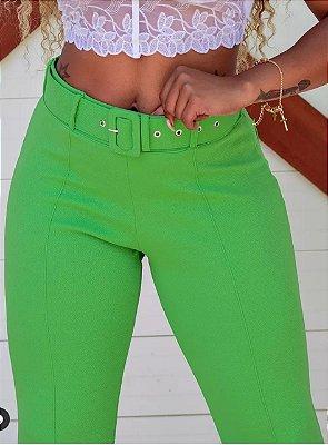 Calça Flare feminina crepe - Verde