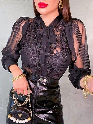 Body camisa manga longa black com transparência e com bordado