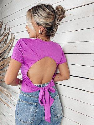 Blusa decote costas laço - lavanda