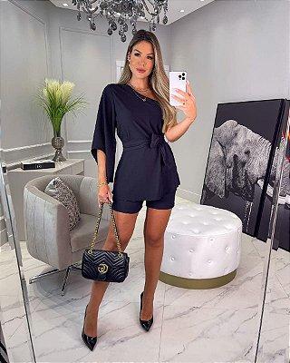 Conjunto Jacque blusa e shorts - Preto