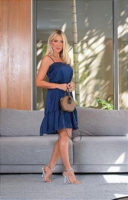 Vestido soltinho e leve de alcinhas - Azul