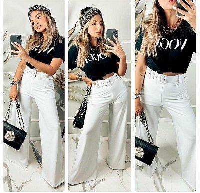 Calça Luxo com cinto - Branco