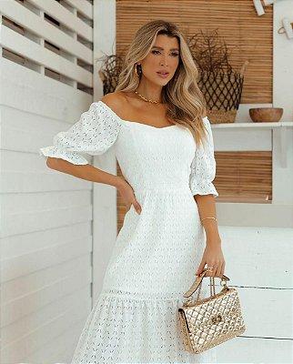 Vestido em laise de malha - Branco