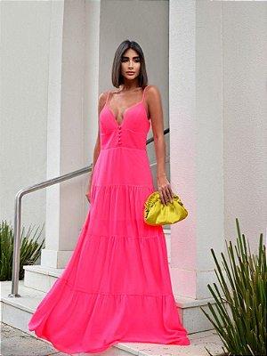 Vestido longo de alcinhas - rosa neon