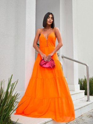 Vestido longo de alcinhas - laranja neon