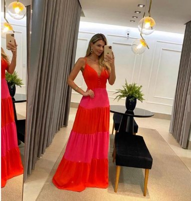Vestido longo de alcinha bicolor - laranja e pink