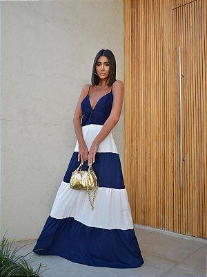 Vestido longo de alcinha bicolor - azul e branco