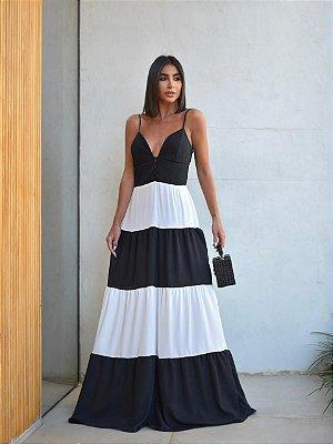 Vestido longo de alcinha bicolor - preto e branco