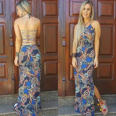 Vestido longo azul estampado muito lindo com tiras nas costas