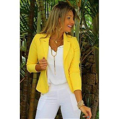 Blazer maravilhoso em neoprene na cor amarelo