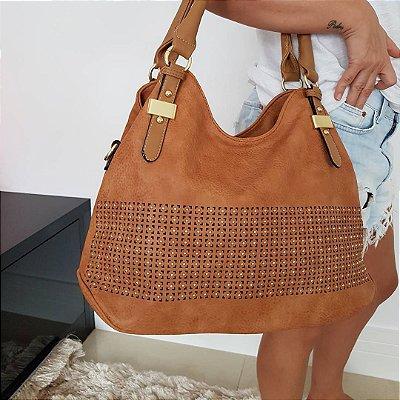 Baby bag em couro eco na cor caramelo